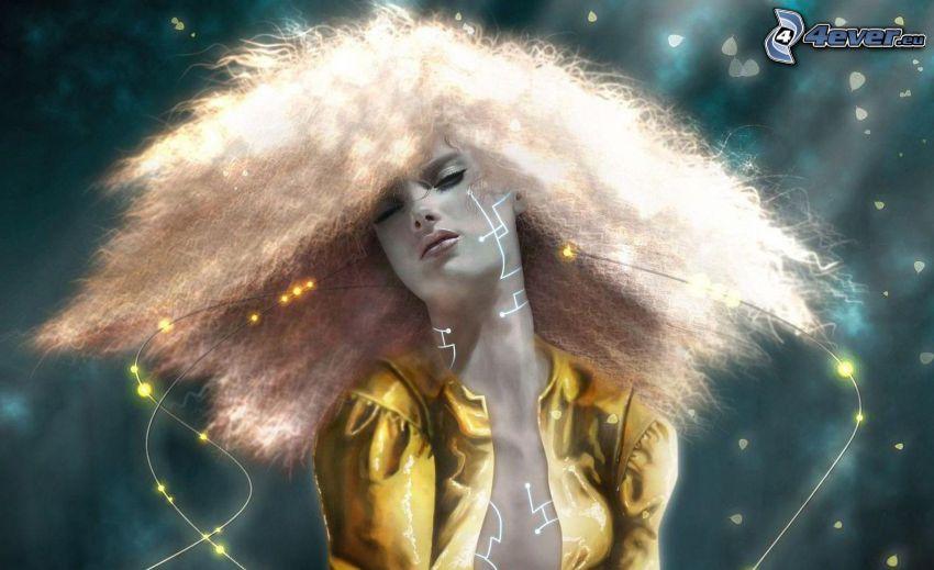 kobieta z, fantazji, rozwiane włosy