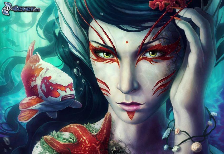 kobieta z, fantazji, ryba