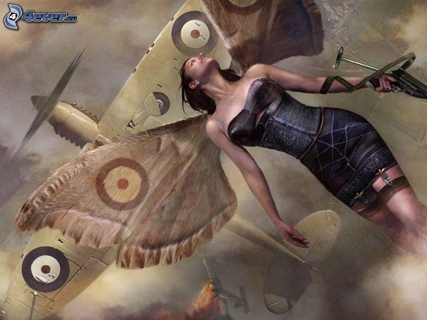 kobieta z, fantazji, skrzydła, samolot