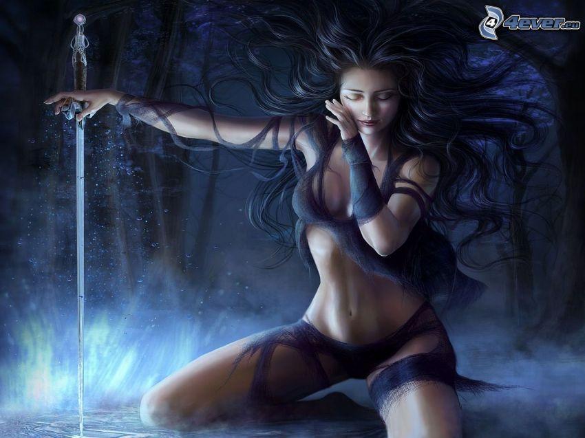 kobieta z mieczem, włosy