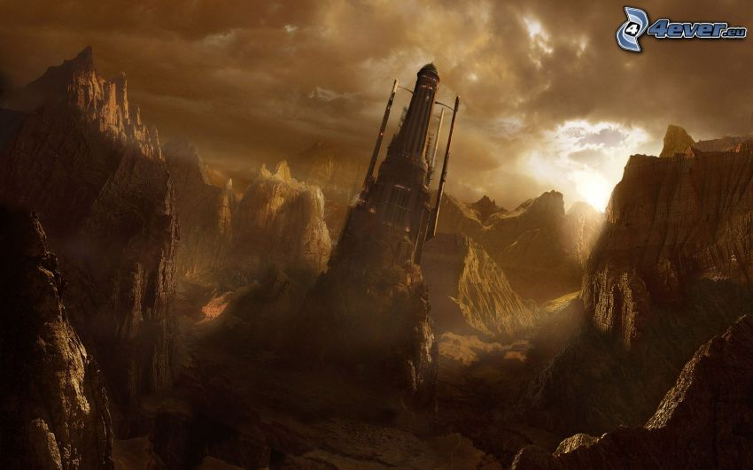 krajobraz sci-fi, góry skaliste
