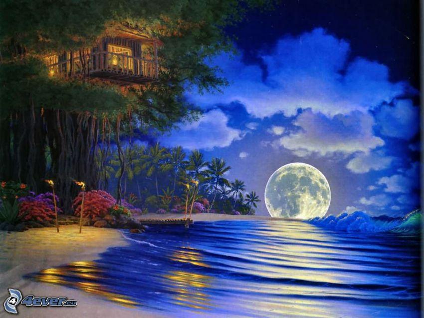 księżyc, morze, noc, dom na drzewie
