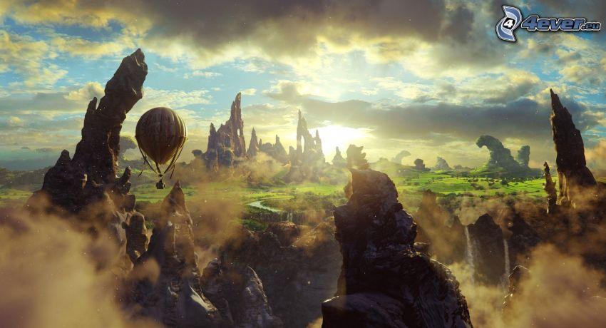 latający balon, skały