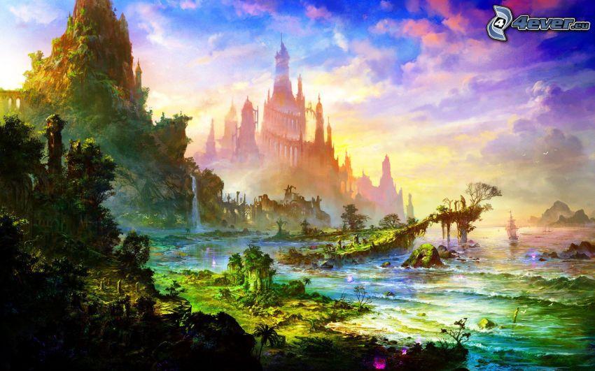 pałac, morze, skały, chmury, kolorowe