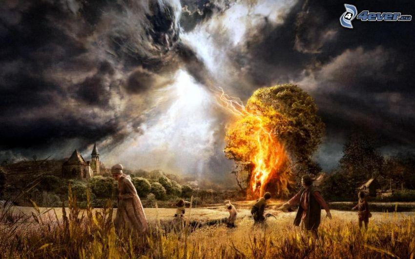piorun, ogień, ludzie, ucieczka, pole, chmury burzowe