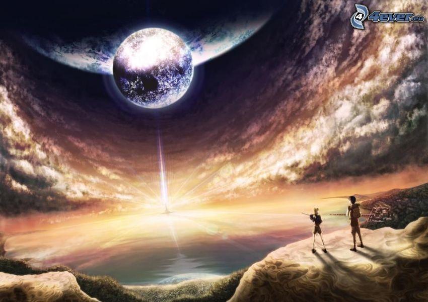 planeta, poświata, chłopiec i dziewczynka