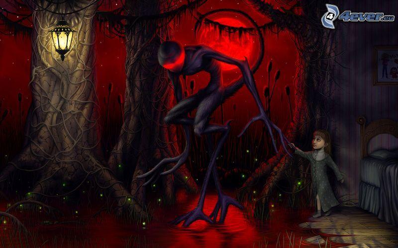 potwór, rysunek dziecka, noc, ciemny las, latarnia, sen