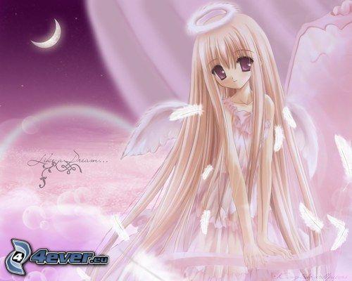 rysowany anioł, anime, długie włosy