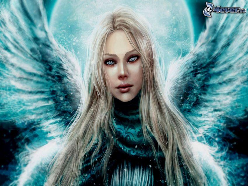 rysowany anioł, blondynka, kobieta ze skrzydłami