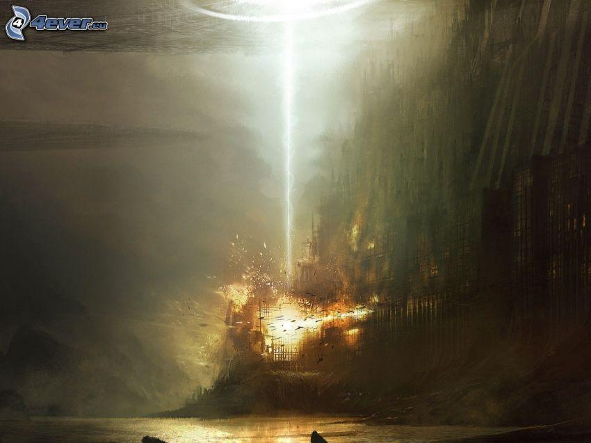 rysunkowy krajobraz, fantastyczne, eksplozja