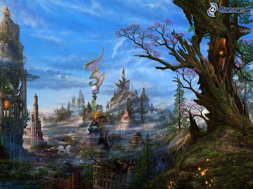rysunkowy krajobraz, fantastyczne