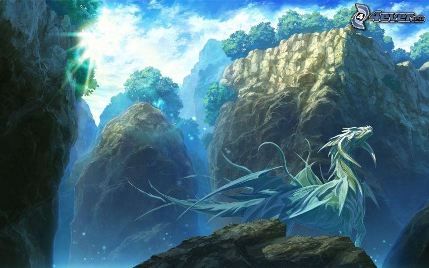 smok rysunkowy, skały, fantastyczne