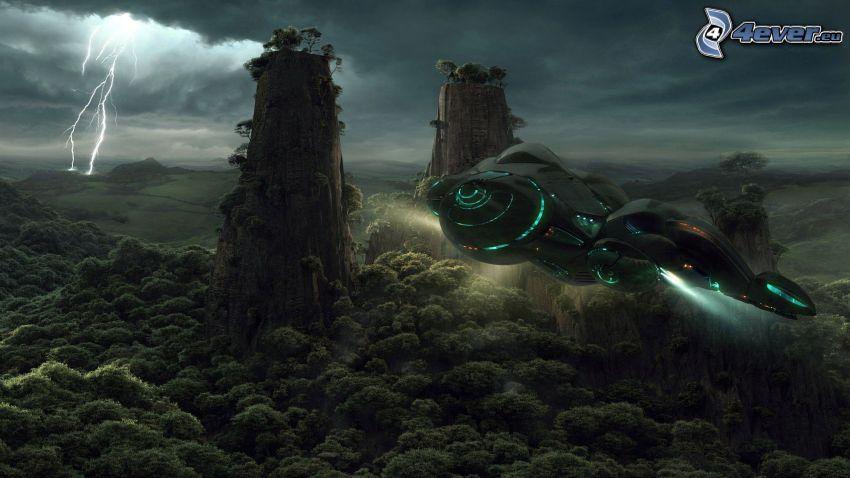 statek kosmiczny, sci-fi, wysokie góry, drzewa, piorun, chmury burzowe