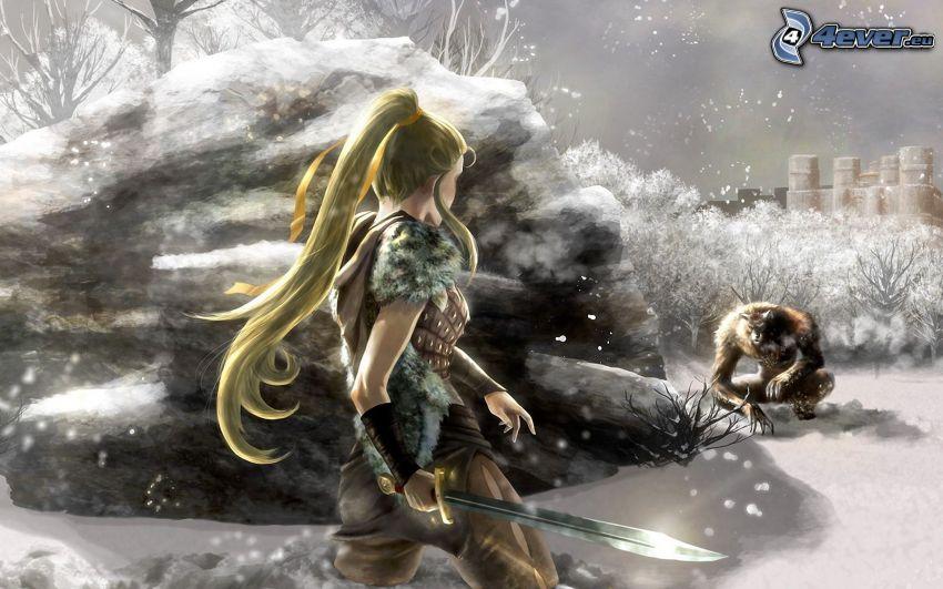 wojowniczka z fantazji, animacyjna dziewczyna, potwór, skała, śnieg