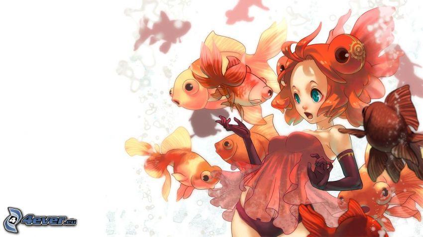 animacyjna dziewczyna, ławica ryb