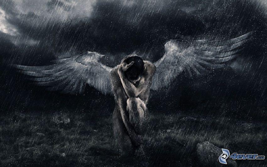 anioł, deszcz, ciemność