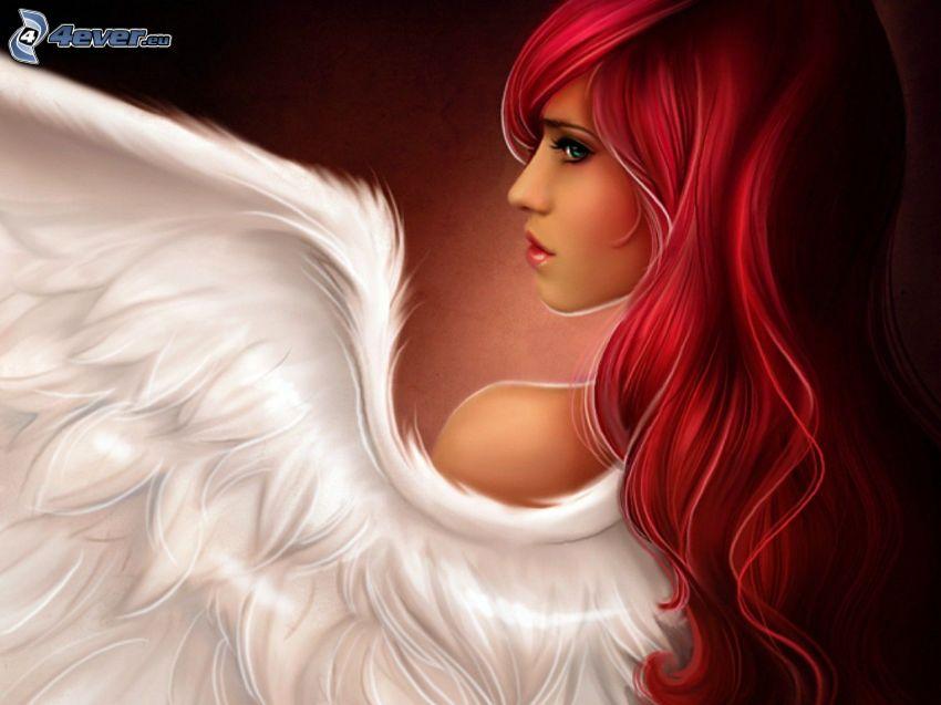 anioł, rudowłosa, skrzydło