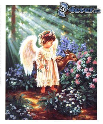 aniołek, dziecko, sarenka, las, kwiaty