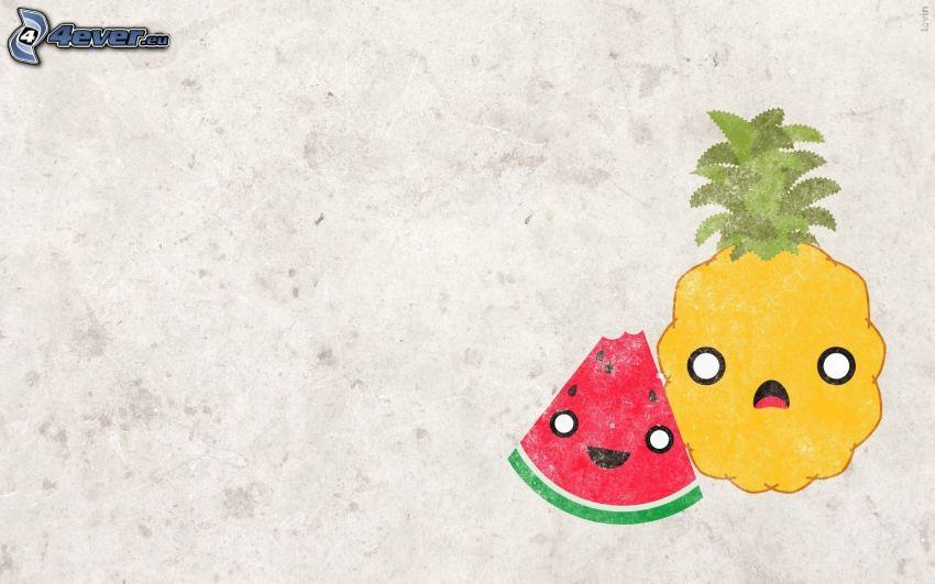 arbuz, ananas