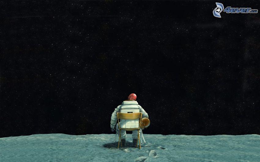 astronauta, gwiaździste niebo