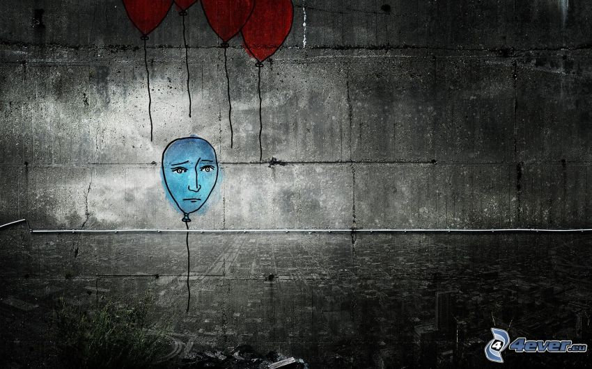 balony, samotność, smutek