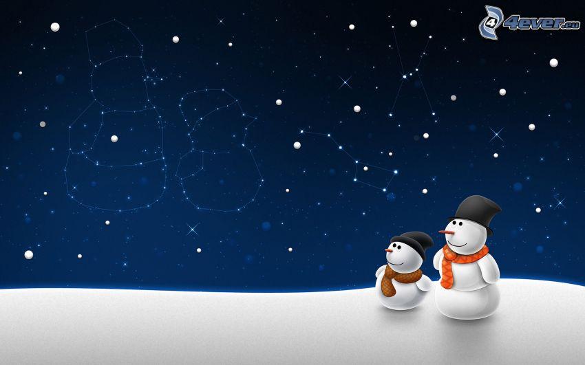 bałwany, gwiazdy, konstelacja, śnieg