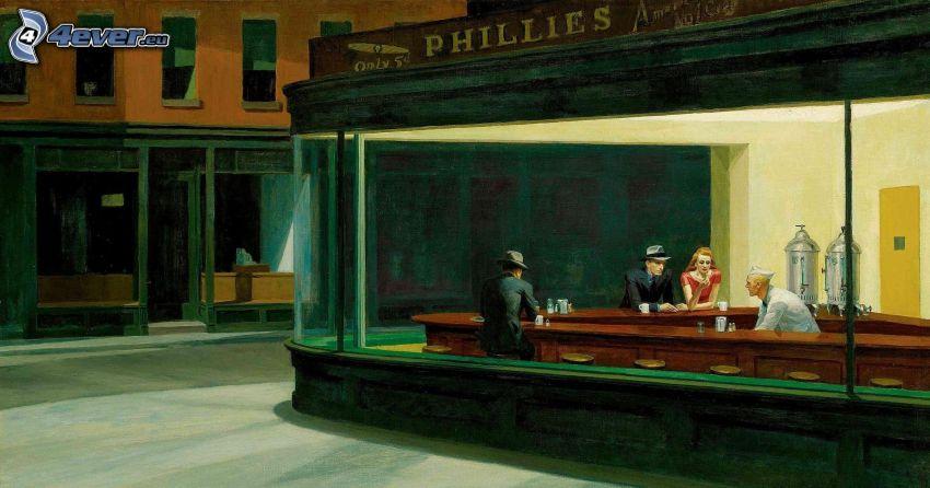 bar, ludzie, ulica, malowidło