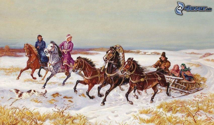 brązowe konie, sanie, śnieg, Rosja
