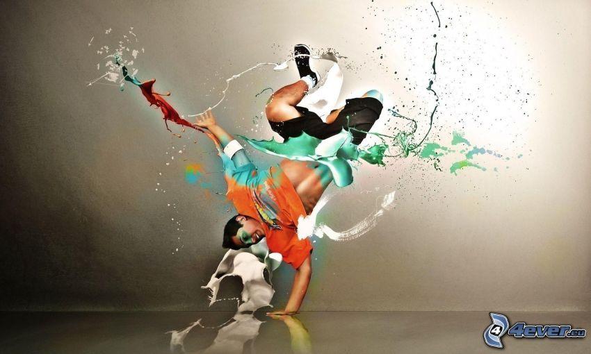 breakdance, mężczyzna, plusk