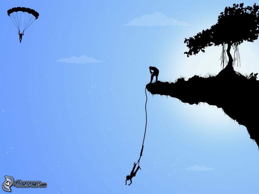 Bungee jumping, paralotniarstwo, latająca wyspa, drzewo, sylwetki
