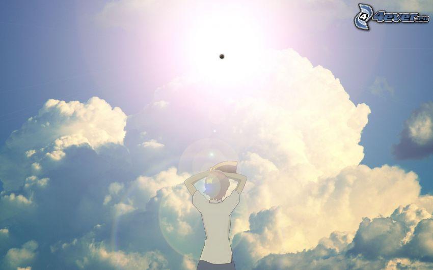 chłopczyk, chmury, planeta