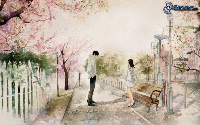 chłopiec i dziewczynka, ławeczka, kwitnące drzewa