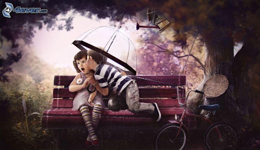 chłopiec i dziewczynka, pocałunek, parasol, ławeczka, rower