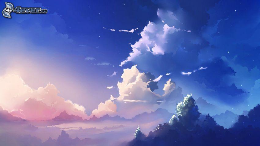 chmury, niebieskie niebo