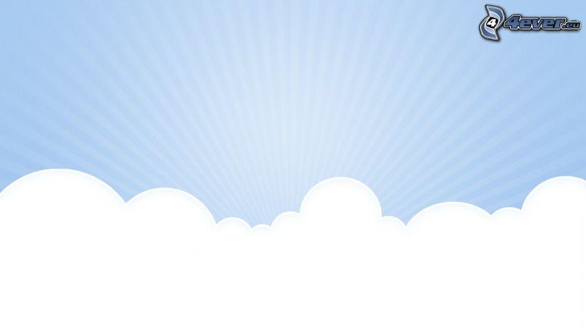 chmury, promienie słoneczne