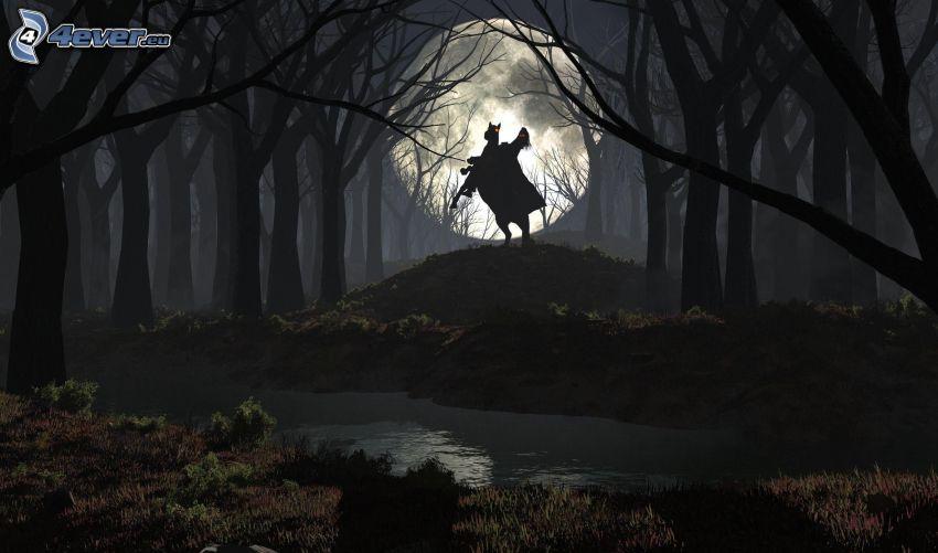 ciemny las, kobieta na koniu, sylwetka, księżyc, leśny strumyk