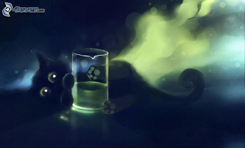 czarny kotek, szklanka