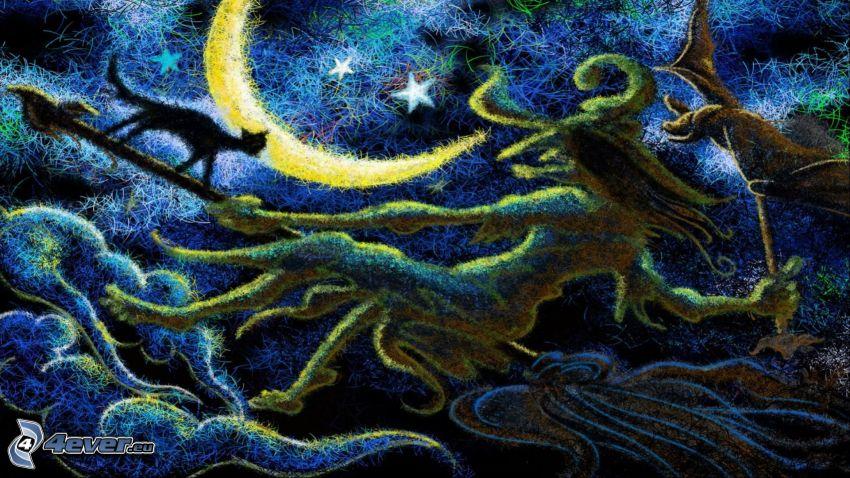 czarownica, czarny kot, księżyc