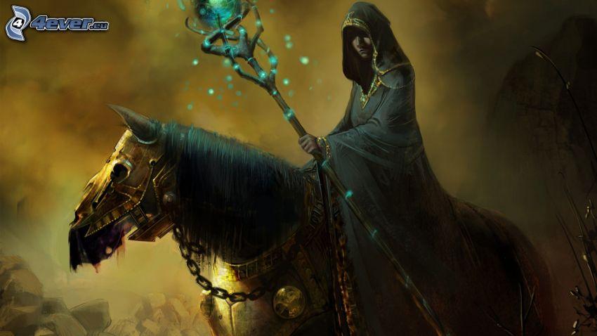 czarownik, koń