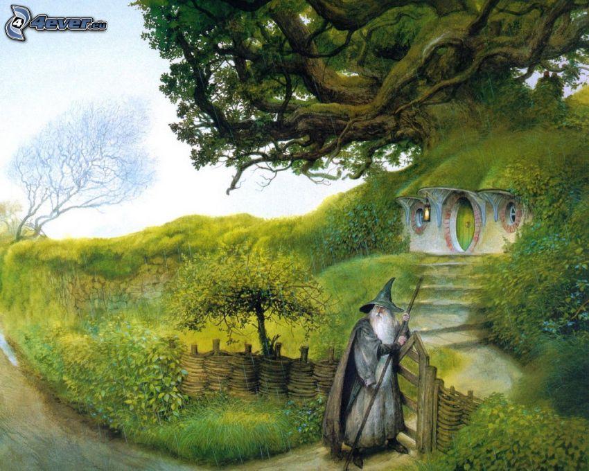 czarownik, rysunkowy krajobraz, drzewo