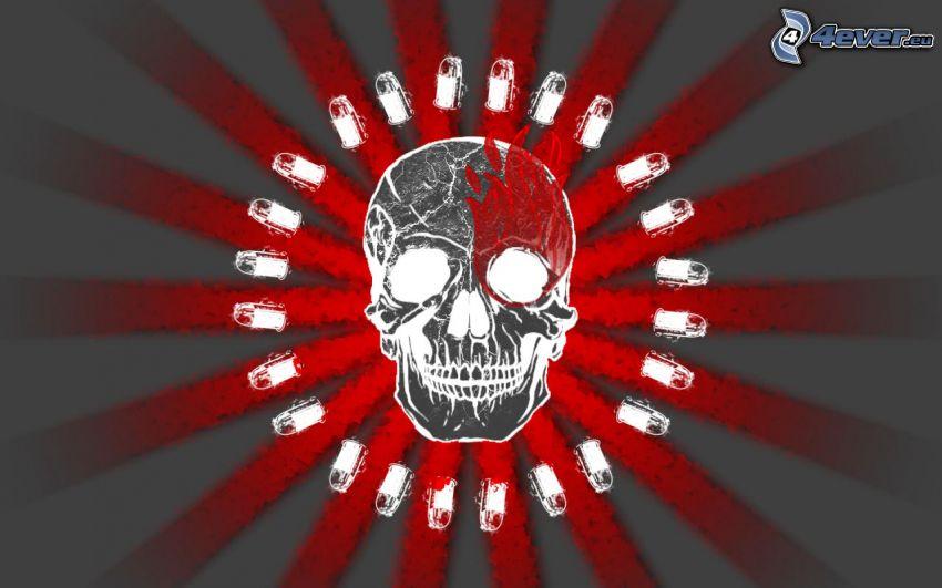 czaszka, amunicja, paski