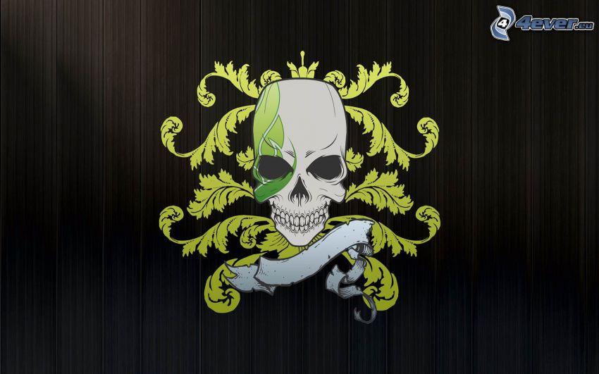 czaszka, czarne tło