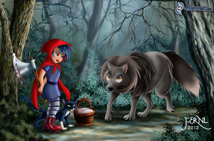 Czerwony Kapturek, topór, wilk, ciemny las, czarny kot
