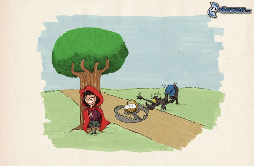 Czerwony Kapturek, wilk, drzewo, pułapka