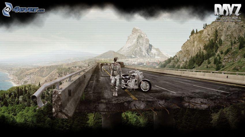 DayZ, motocyklista, zniszczony most