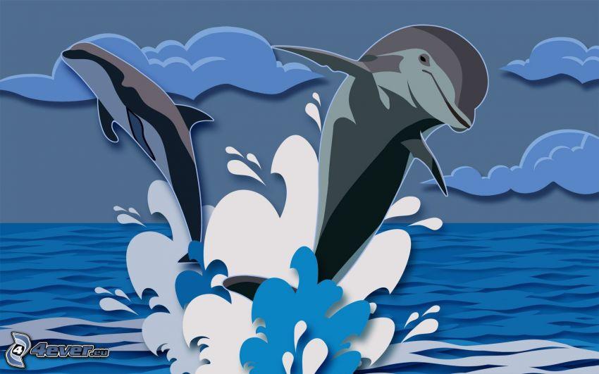 delfiny, wyskok, woda
