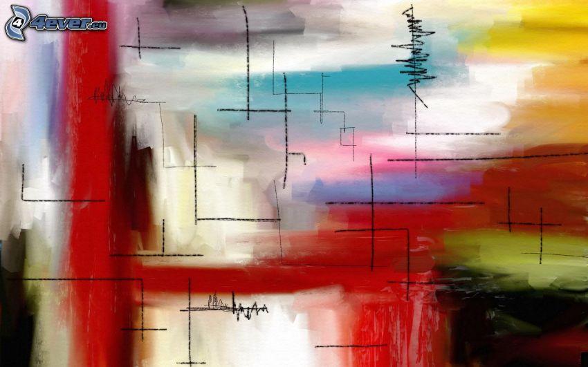 abstrakcyjne, linie, kolory