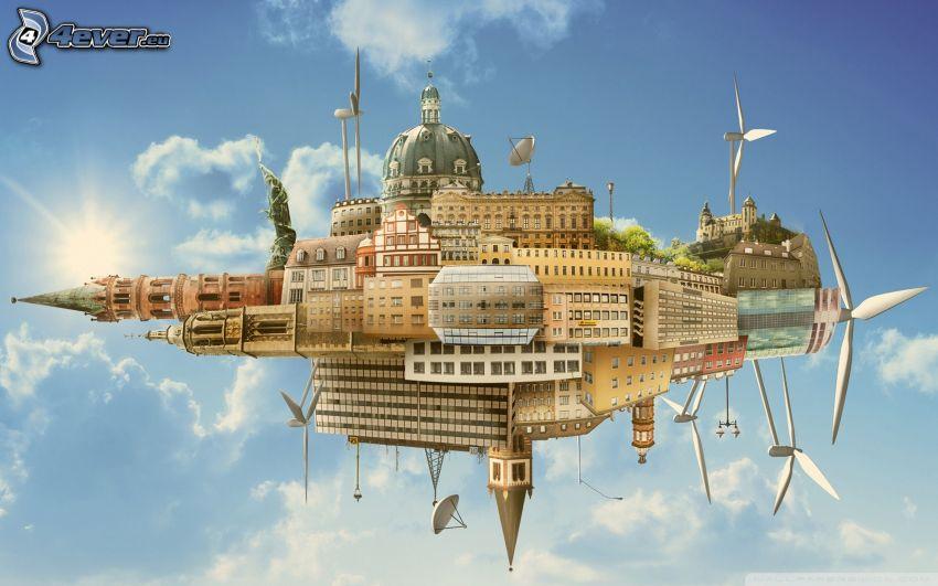 abstrakcyjne miasto, wyspa, elektrownia wiatrowa