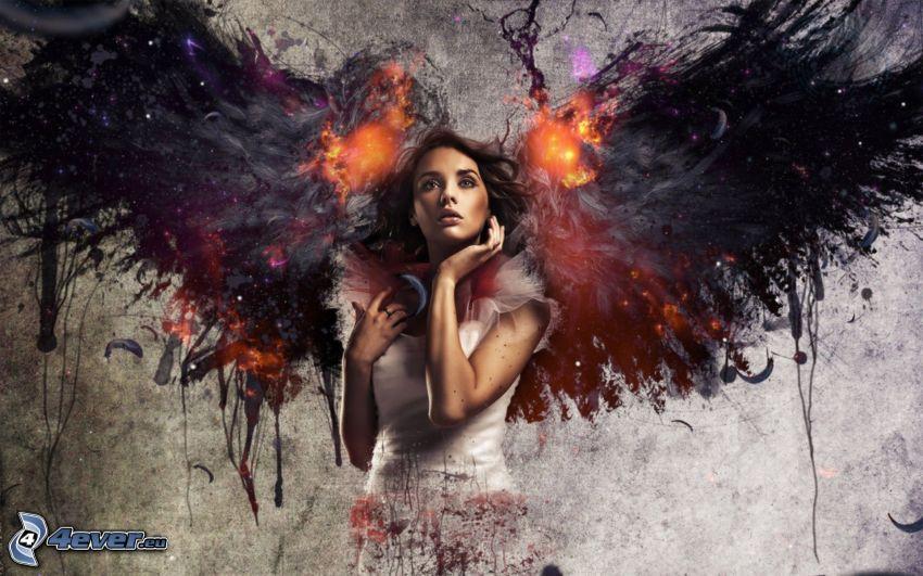 anielski diabeł, brunetka