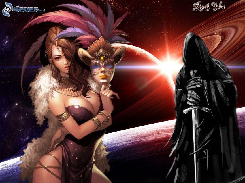 animacyjna dziewczyna, kostium, mroczny rycerz, planety, gwiazdy